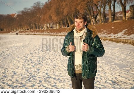 Winter Favorable Weather Conditions. Sunny Winter Day. Winter Menswear. Travel And Vacation Concept.