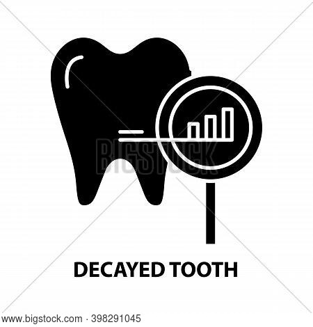 Decayed Tooth Icon, Black Vector Sign With Editable Strokes, Concept Illustration