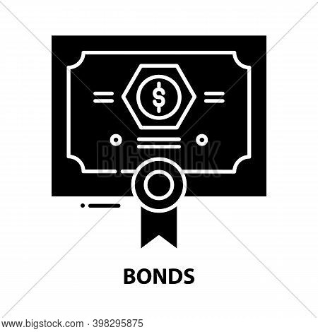 Bonds Symbol Icon, Black Vector Sign With Editable Strokes, Concept Illustration