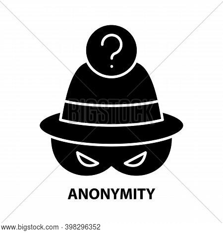 Anonymity Icon, Black Vector Sign With Editable Strokes, Concept Illustration