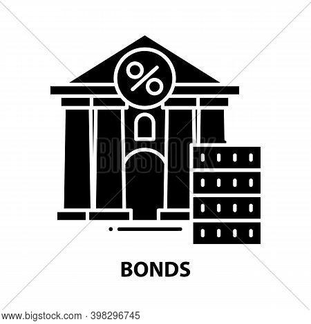 Bonds Icon, Black Vector Sign With Editable Strokes, Concept Illustration