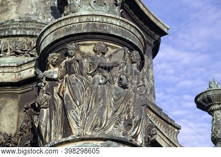 Dresden, Germany - June 05, 2013: Fragment Of The Monument Of King Johann Of Saxony On Theater Squar