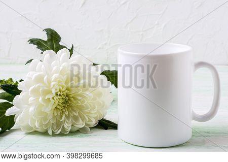 White Coffee Mug Mockup With White Chrysanthemum. Empty Mug Mock Up For Design Presentation.