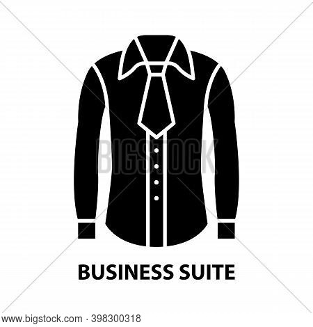 Business Suite Icon, Black Vector Sign With Editable Strokes, Concept Illustration