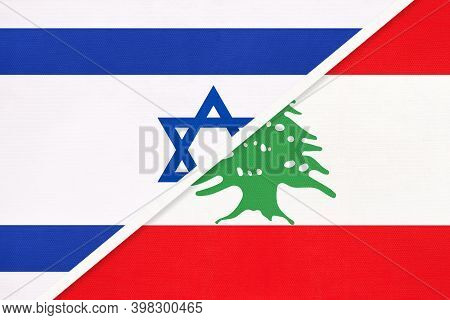 Israel And Lebanon Or Lebanese Republic, National Flags From Textile. Relationship, Partnership And