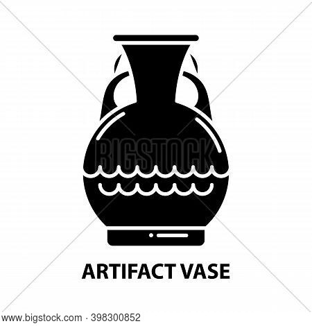 Artifact Vase Icon, Black Vector Sign With Editable Strokes, Concept Illustration