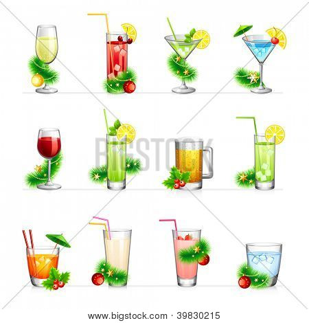 Set of vector illustration of different drinks and cocktails.For your New Year and Christmas design.Isolated on white.