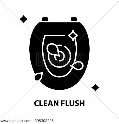 Clean Flush Icon, Black Vector Sign With Editable Strokes, Concept Illustration