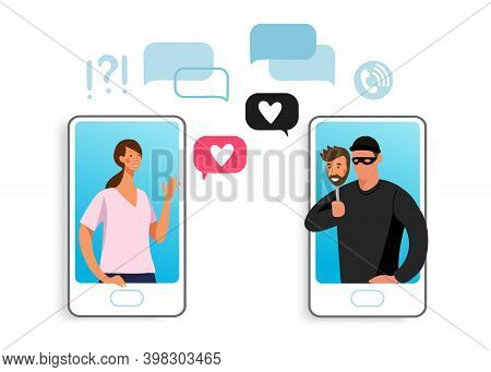 The Girl Communicates On The Phone With A Scammer. Concept Illustration Of Online Fraud, Online Dati