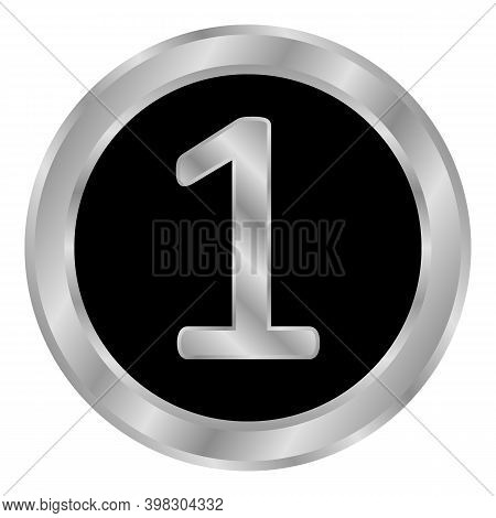 Gold Number One Button On White Background. Vector Illustration.