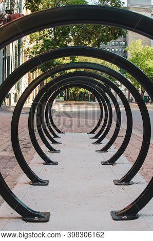 Empty Circular Bike Rack In The Exchange District, Winnipeg, Manitoba,
