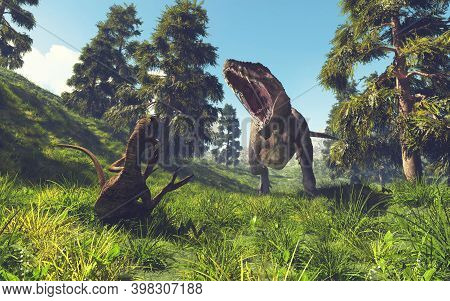 Tyrannosaurus Rex Attacking A Oviraptor In The Forest . This Is A 3d Render Illustration .