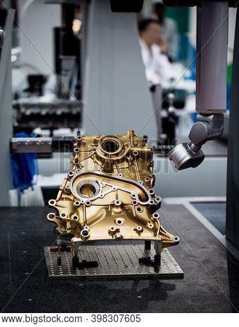 Cmm Coordinate Measuring Dimension Machine Inspecting Engine Part. Automotive Industry