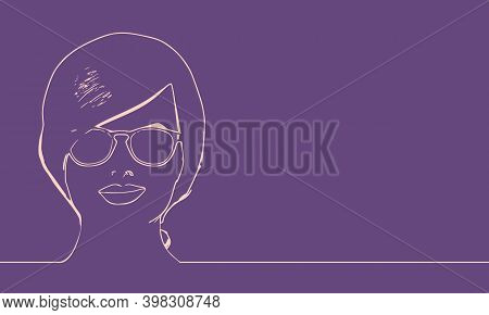 Face Front View. Elegant Silhouette Of A Woman Wearing Spectacles