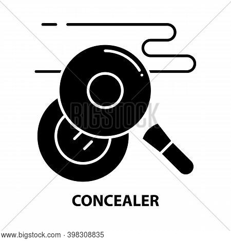 Concealer Icon, Black Vector Sign With Editable Strokes, Concept Illustration