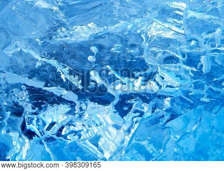 Blurred Colorful Ice Texture. Blue Ice, Arctic Ice Background.