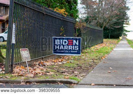 December 5, 2020 - Elkins Park, Pennsylvania: A Biden Harris Campaign Sign On A Suburban Street  Nex