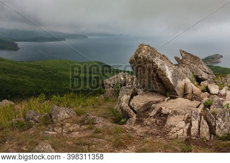 Bay Of The Sea And Large Rocks From The Hilltop Of The Mountainous Coast, Summer Landscape And Seasc