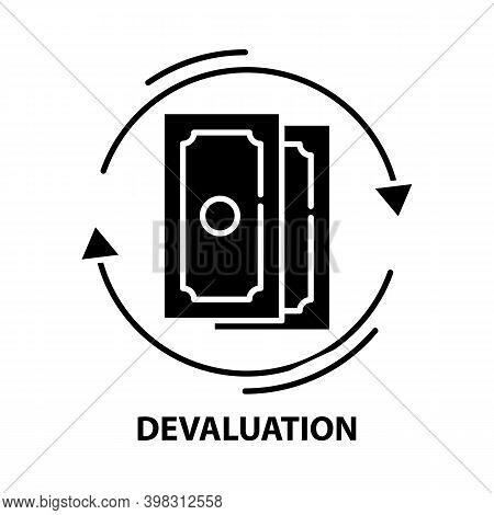 Devaluation Icon, Black Vector Sign With Editable Strokes, Concept Illustration