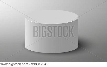 3d Podium. Pedestal Platform Or Showroom Stand. White Round Studio Stage Platform. Vector Empty Aren