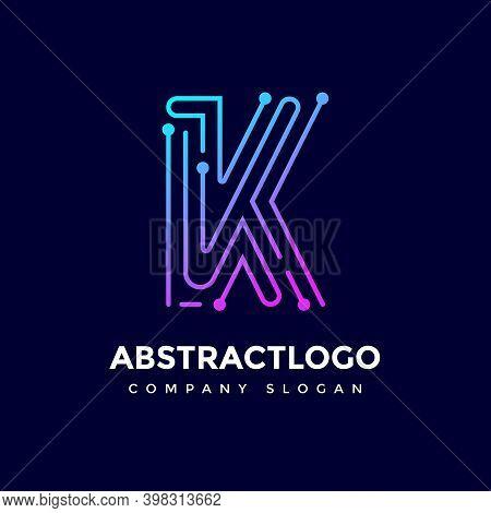 Creative Dots Letter K Logo Design. Smart Point Idea Technology K Icon Logotype.
