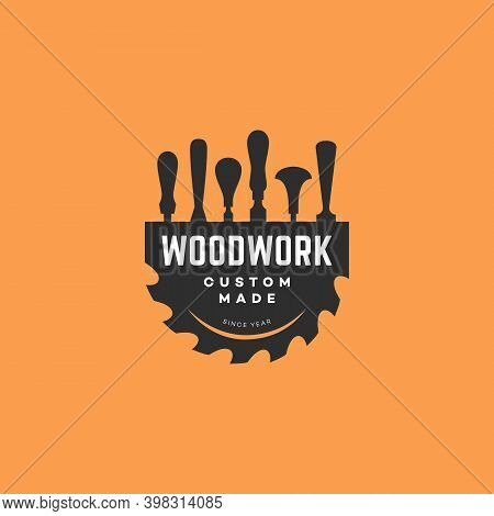Logo Design Template With Chisels And A Saw Blade For Wood Shop, Carpentry, Woodworkers, Wood Workin