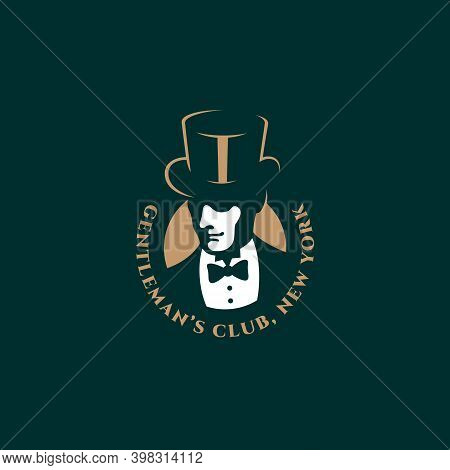 Man In A Top Hat And A Bow Tie Logo Design Template For A Dark Background. Vector Illustration.