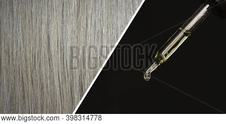 Pipette With Cosmetic Oil. Texture Of Light Hair. The Concept Of Caring For The Scalp And Hair. Shin