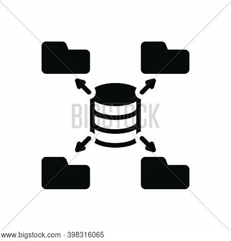 Black Solid Icon For Source Origin Wellspring Place-of-origin Data Authority Mainframe Database Soft