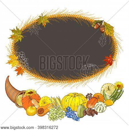 Templates With Outline, Turkey, Pumpkin Pie, Cornucopia, Colorful Pumpkins, Other Vegetables, Fruits