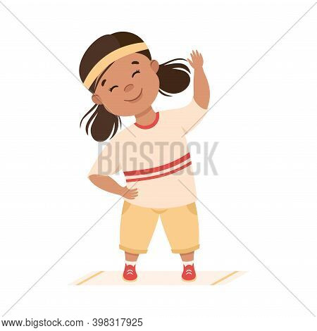 Obedient Girl With Good Breeding Doing Physical Exercise Vector Illustration
