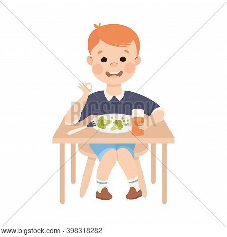 Obedient Boy With Good Breeding At Kitchen Table Eating Healthy Breakfast Vector Illustration