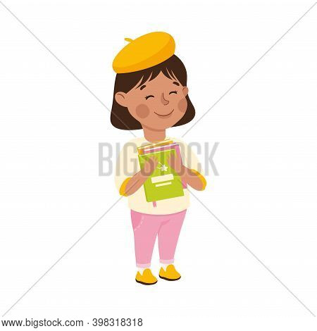 Obedient Girl Character With Good Breeding Holding Books Vector Illustration
