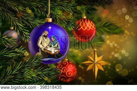 Christmas Story. Christmas Night, Mary, Joseph And The Baby Jesus, Son Of God , Christmas Decorative