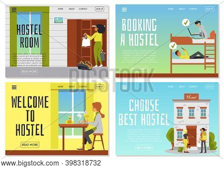 Web Banner For Booking Hostel Rooms And Accommodation, Flat Vector Illustrations.