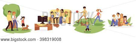 Family At Home And Walk With Beloved Pet Flat Vector Illustration Isolated.