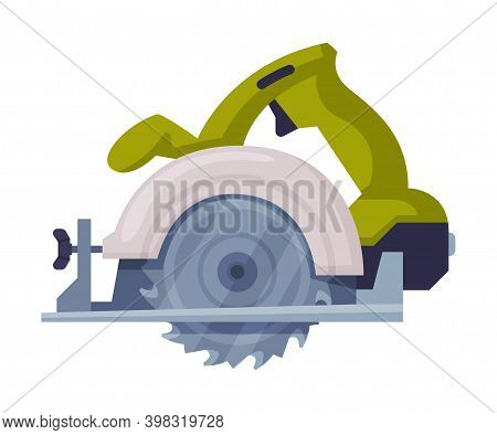 Powered Circular Saw With Tough Blade With Hard Toothed Edge Vector Illustration
