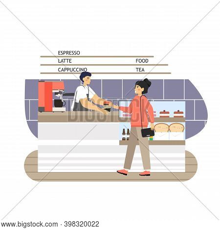 Coffee Shop Scene. Barista And Visitor At Bar Counter, Flat Vector Illustration. Coffeehouse, Cafe I