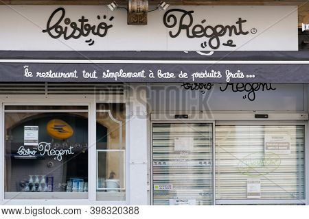 Bordeaux , Aquitaine  France - 12 01 2020 : Bistro Regent French Chain Restaurant Sign Text And Logo