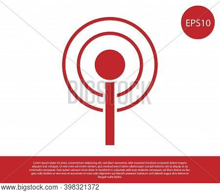 Red Antenna Icon Isolated On White Background. Radio Antenna Wireless. Technology And Network Signal