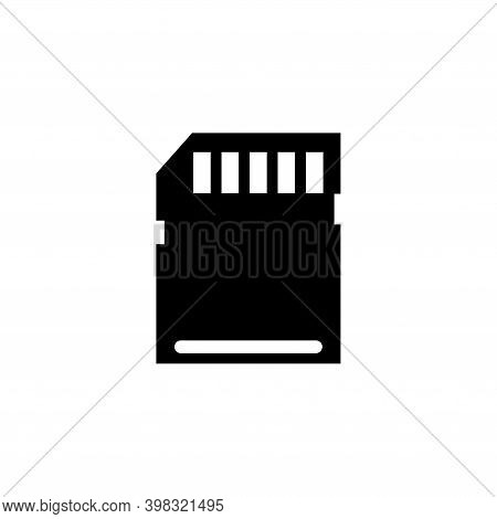 Flash Memory Card, Micro Sd Storage. Flat Vector Icon Illustration. Simple Black Symbol On White Bac