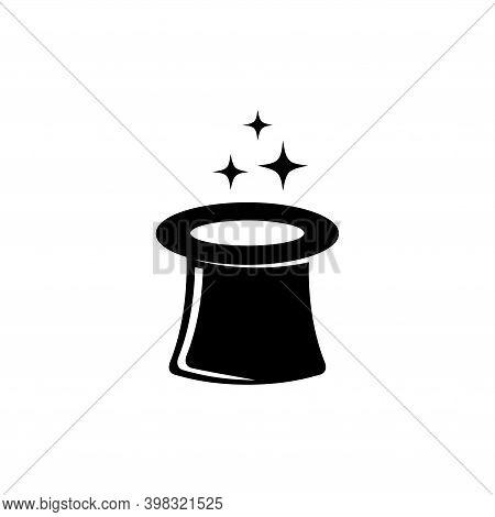 Magic Hat, Magician Gentleman Cylinder. Flat Vector Icon Illustration. Simple Black Symbol On White