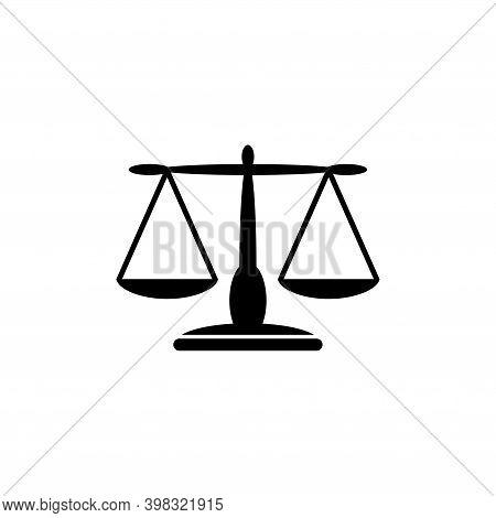 Equilibrium Scale Balance, Justice Libra. Flat Vector Icon Illustration. Simple Black Symbol On Whit