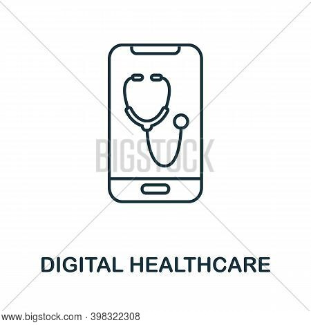 Digital Healthcare Icon. Line Style Element From Digital Healthcare Collection. Thin Digital Healthc