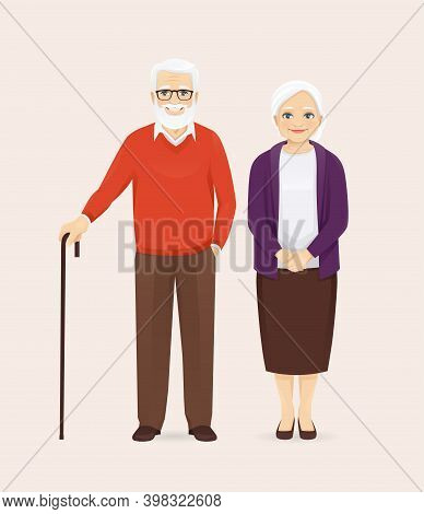 Mature Senior Couple In Casual Outfit Standing. Old Man And Woman, Grandparents Isolated Vector Illu