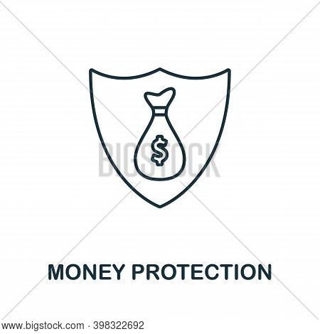 Money Protection Icon. Line Style Element From Gdpr Collection. Thin Money Protection Icon For Templ