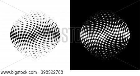 Halftone Distort Ball. Circle Dots 3d Sphere. Logo Emblem Design Element For Medical, Treatment, Cos