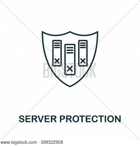 Server Protection Icon. Line Style Element From Gdpr Collection. Thin Server Protection Icon For Tem