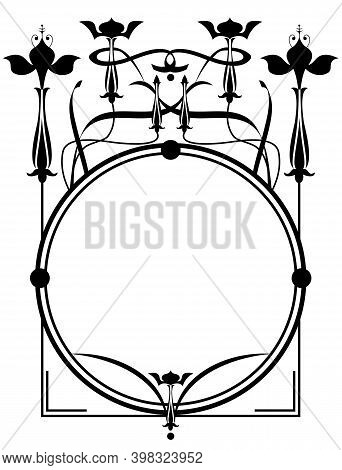 Vector Round  Floral Frame With Fuchsia In Black And White Colors
