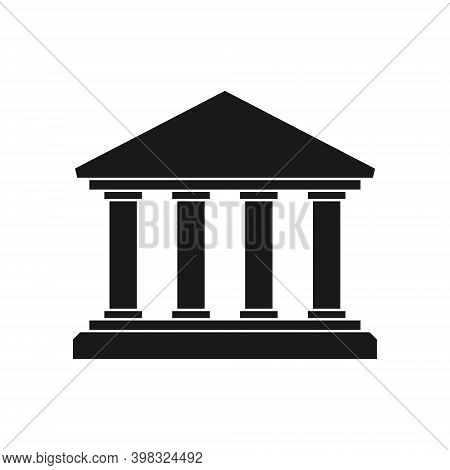 Bank Vector Icon. Business And Economy Symbol. Ancient Greek Temple Shape Sign. Architecture Buildin